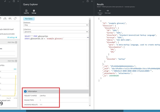 Azure portal returns request charge