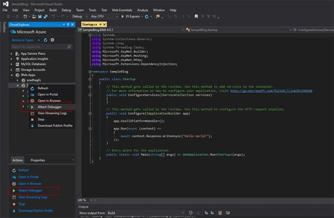 Attach debugger to Azure Web App